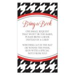 Stylish Black Houndstooth Red Bring a Book Cards