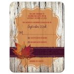 Great rustic orange and purple wood and burlap autumn leaves wedding response cards with twine bow.