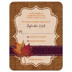 Great rustic orange and purple burlap autumn leaves wedding response reply cards with twine bow.