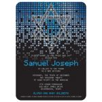 Blue gray black pixel computer techno font video game theme Bar Mitzvah invitation front