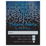 Blue, gray and black pixel computer techno font video game theme Bar Mitzvah RSVP Card front