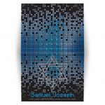 ​Blue, gray and black pixel computer techno font video game theme Bar Mitzvah folded thank you card