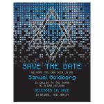 Blue, gray and black pixel computer techno font video game theme Bar Mitzvah save the date card