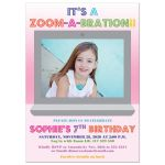 Zoom birthday party invitation with photo template for a girl's 7th birthday Zoom-A-Bration!