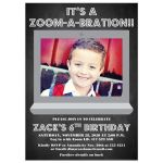 Chalkboard Zoom virtual birthday party invite invitation with photo template for a boy child's 6th birthday Zoom-A-Bration!