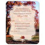 autumn at the pond wedding response reply card with fall foliage, trees, water, and rich fall colors of red, burnt orange, gold, rust, yellow, and brown.