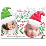 ​Cute Santa's little helpers family photo Christmas card (flat photo card style) front