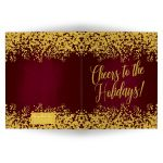 Burgundy & Gold Cheers To The Holidays Christmas Cards by The Spotted Olive