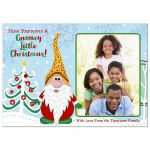 Have yourself a gnomey little Christmas cartoon gnome Christmas photo greeting card front