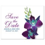 Beautiful Blue Bom Dendrobium orchid painting wedding save the date postcard front