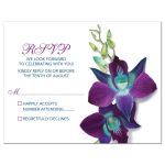Beautiful Blue Bom Dendrobium orchid painting wedding RSVP card