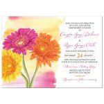 Spring or summer orange, yellow, and pink gerbera daisy wedding invitation
