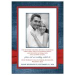 Denim and diamonds wedding invite with red ribbon and optional photo template.