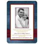 Sunflower and burgundy wedding invites with a burgundy ribbon and optional photo template on blue denim.