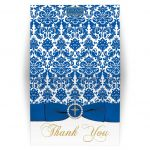 Royal blue, gold, white damask thank you card with printed on ribbon and jeweled brooch with an ornate gold Christian cross and dove.