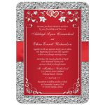 Red and silver gray floral wedding invites with red ribbon, bow, joined jewel and glitter hearts brooch and ornate scrolls.