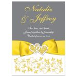 Yellow, grey gray white floral wedding invitation with yellow ribbon, bow, joined jewel and silver glitter joined hearts brooch and ornate scrolls.