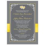 Yellow, grey gray white floral wedding invites with yellow ribbon, bow, joined jewel and silver glitter joined hearts brooch and ornate scrolls.