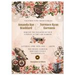 Vintage Floral Steampunk Wedding Invitation