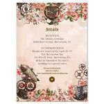 Vintage Floral Steampunk Wedding Reception Enclosure Card
