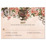 Vintage Floral Steampunk Reply RSVP Card