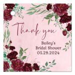 Watercolor Burgundy Roses Gift Favor Tag