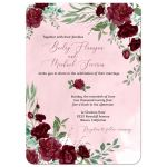 Watercolor Burgundy Roses Wedding Invitation
