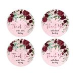 Watercolor Burgundy Roses Round Sticker