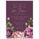 Purple Watercolor Flowers Garden Wedding Invitation