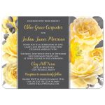 Yellow, gray white watercolor floral wedding invitation with optional photo template.