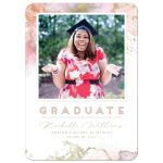 Pink Cosmos Graduation Announcement by The Spotted Olive - Front