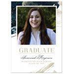 Navy & Gold Abstract Graduation Announcement by The Spotted Olive - Front