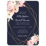 Floral Corners on Navy Geometric Frame Wedding Invitation