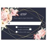 Floral Corners on Navy Geometric Frame Wedding Reply RSVP Card
