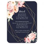 Floral Corners on Navy Geometric Frame Wedding Reception Enclosure Card