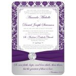 Christian wedding invitation in purple and silver gray grey damask pattern with ribbon, jewels, Cross, and Bible verse.