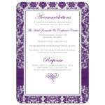 Christian wedding invitations in purple and silver grey damask pattern with ribbon, jewels, Cross, and Bible verse.