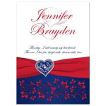 Patriotic or military wedding invitation in red, white, and blue with a red ribbon, flowers, and love heart.