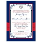 Patriotic or military wedding invites in red, white, and blue with a red ribbon, flowers, and love heart.