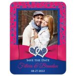 Fuchsia pink, royal blue, and white floral wedding save the date card with photo template, ribbon, bow, jewels, glitter, joined hearts.