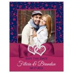 Navy blue, white, and magenta pink floral wedding save the date card with photo template, ribbon, bow, jewels, glitter, joined hearts.