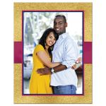 Navy blue, gold, and magenta pink wedding save the date card with optional photo, ribbon, bow, jewels, glitter, and joined hearts.