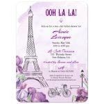 Paris Purple Iris French Bridal Shower Invitation