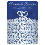 royal blue, silver grey gray floral wedding invitation with joined diamond jeweled and glitter hearts, ribbon, bow, and ornate silver scrollwork.