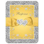 Yellow and silver gray floral wedding RSVP card with yellow ribbon, bow, joined jewel and glitter joined hearts brooch and ornate scrolls.