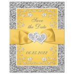 Yellow and silver gray floral wedding Save the Date card with yellow ribbon, bow, joined jewel and glitter joined hearts brooch and ornate scrolls.