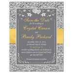 Yellow and silver grey floral wedding Save the Date cards with yellow ribbon, bow, joined jewel and glitter joined hearts brooch and ornate scrolls.