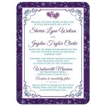 Purple, teal blue, and white floral photo wedding invites with joined jewel hearts, ribbon, bow and photo template.