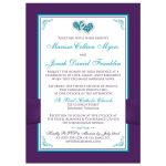 Purple, turquoise, teal blue, and white floral photo wedding invites with joined jewel hearts, ribbon, bow and photo template.