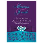 Purple, turquoise, teal blue, and white floral wedding invitation with two jeweled joined hearts, ribbon, and bow.